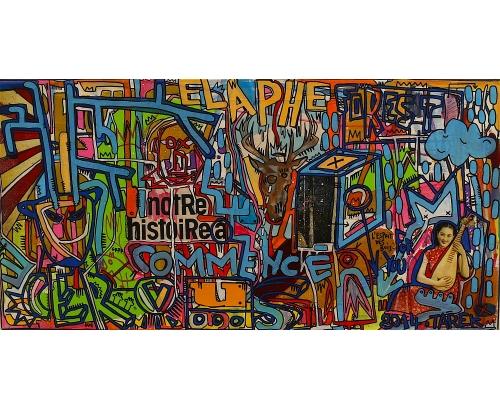 Tableau Street Art CERVUS NOTRE HISTOIRE