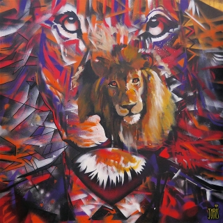 Tableau Street Art LION MAN